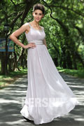 Elegant long Gray Ruching Formal Evening Dress Persun