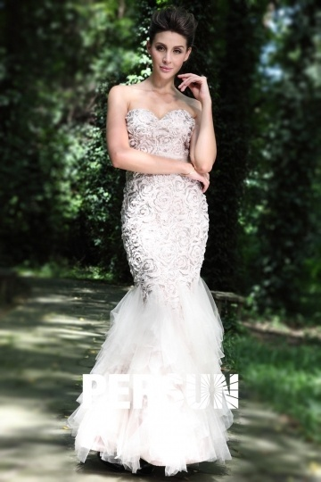 Dressesmall Sexy Mermaid Sweetheart Sequin Gray Lace Formal Evening Dress