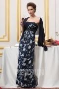 Robe de soirée imprimé pour mère de mariée avec étole