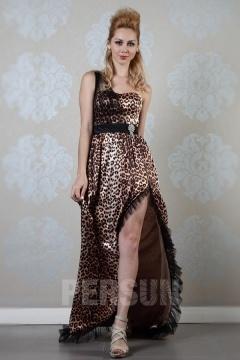 Robe de bal asymétrique motif léopard
