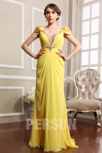 Dressesmall Persun Cap sleeves Deep V neck Chiffon Formal Evening Dress