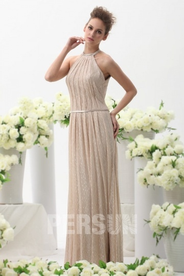 Dressesmall Persun Jewel Sash Open Back Champagne Lace Formal Evening Dress