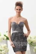 Sweetheart Short Print Ruching Gray Lace Evening Cocktail Dress Persun