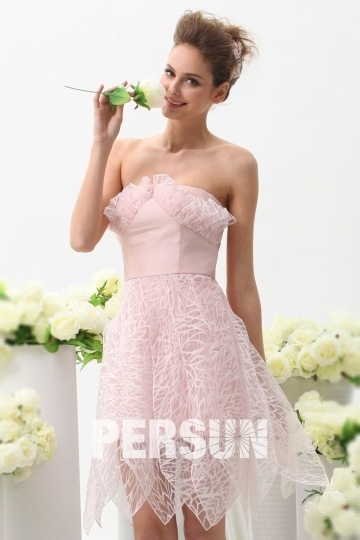 Dressesmall Sexy Knee Length Pink Organza Formal Evening Dress Persun