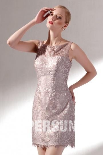 Elegant Etui-Linie Boot-Ausschnitt Kurz Ärmellos Abendkleid aus Spitze Persun