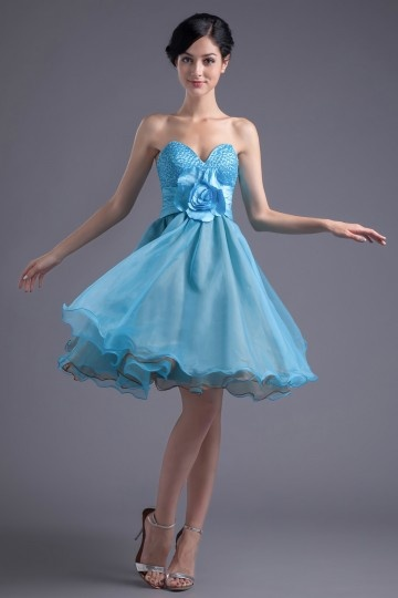 Vestidos de Baile azul decote em coração flor feita à mão Na altura do joelho linha A em organza