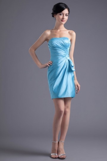 Strapless Pleated Bowknot WrapedElastic Woven Short Sexy Satin Cocktail Dresses