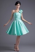 Simple One Shoulder Satin Green Bridesmaid Dresses With Bow