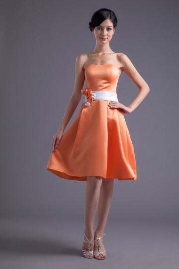 Dressesmall Elegant Satin A Line Strapless Knee Length Orange Flower Formal Bridesmaid Dress