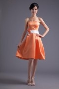 Orange Strapless Knee Length A Line Satin Ribbon Bridesmaid Dress