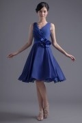 Elegant Blue V Neck Chiffon Sash Natural Knee Length Formal Bridesmaid Dress
