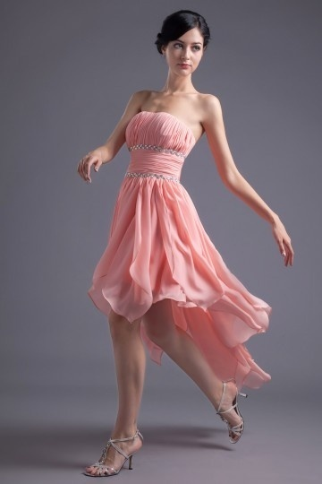 Dressesmall Elegant A Line Strapless Beading Pleated High low Short Cocktail Dress