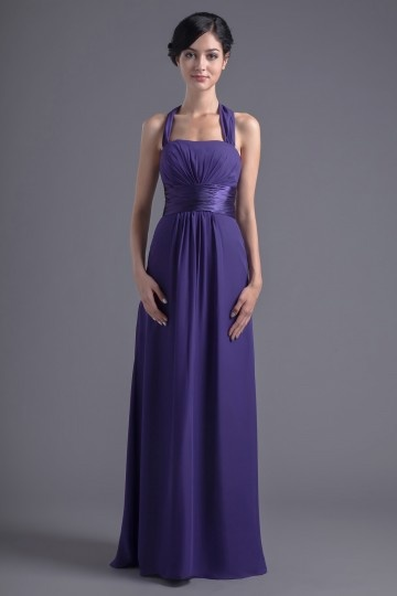 Dressesmall Modern Chiffon Halter A Line Purple Ruching Empire Formal Bridesmaid Dress