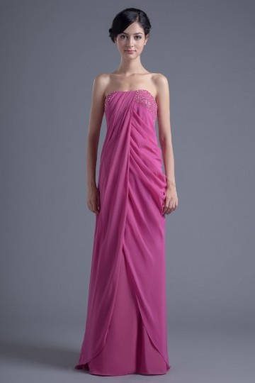 Chic Strapless Long A Line Pleates Empire Bridesmaid Dress