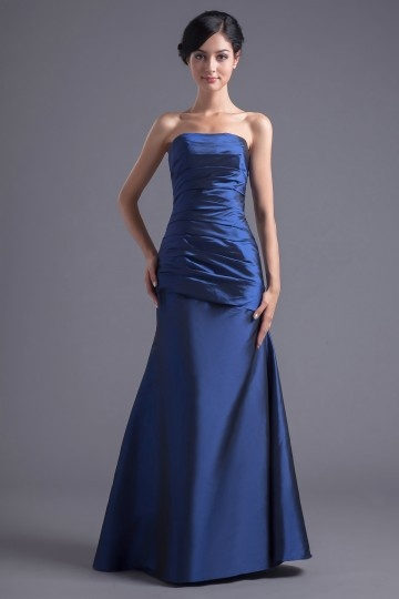 Dressesmall Simple Blue Taffeta Strapless Trumpet Long Pleats Formal Bridesmaid Dress