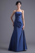 Simple Blue Taffeta Strapless Trumpet Long Pleats Formal Bridesmaid Dress