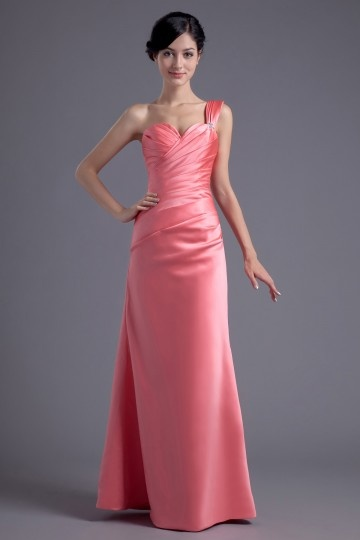 Dressesmall Elegant Column One Shoulder Long Red Pleats Formal Bridesmaid Dress