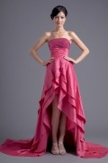 Pretty A line Empire Waist Flouncing High low Taffeta Evening Dress