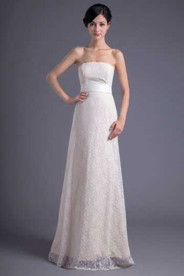 Dressesmall Elegant Ivory A Line Lace Long Strapless Formal Bridesmaid Dress
