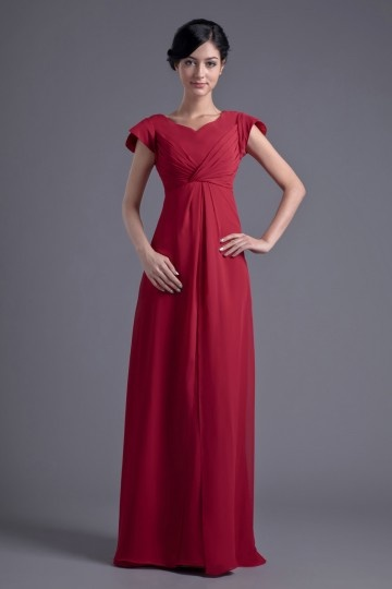 Elegant A line V neck Empire Waist Pleated Cap Sleeves Chiffon Floor length Bridesmaid Dress