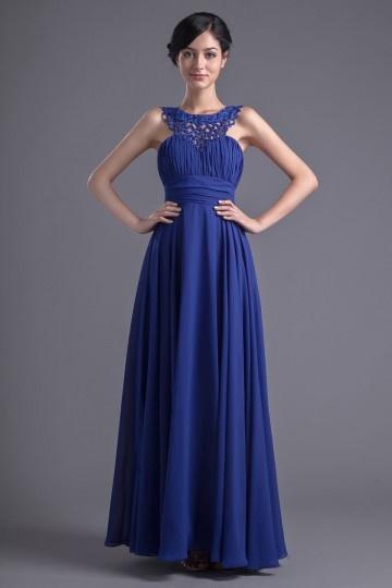 Dressesmall Elegant A Line Round Collar Empire Waist Beaded Floor length Evening Dress