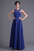 Elegant Round Collar Empire Waist Beaded Floor-length Evening Dress