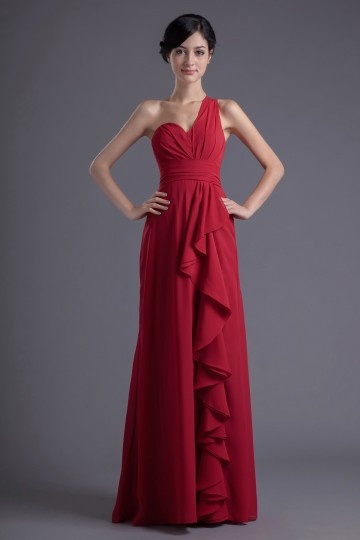 Dressesmall Chic One Shoulder Red Ruffles Empire Formal Bridesmaid Dress