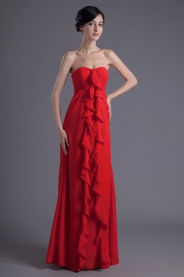 Dressesmall Simple Chiffon Strapless A Line Ruffles Long Red Formal Bridesmaid Dress