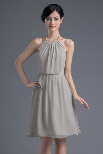 Sexy A-line Halter Waistband Backless Chiffon Knee-length Bridesmaid Dress