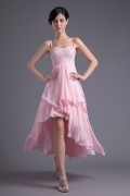 Elegant Pink High Low Spaghetti Straps Beaded Bridesmaid Dress