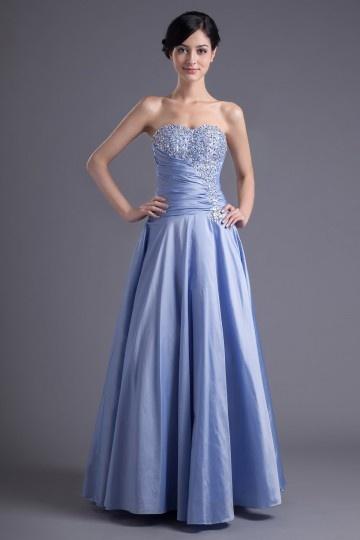 Slim Sexy Srapless Beaded Taffeta Floor-length Prom Dress