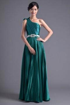 Elegant A line Monospalla Pieghe Fascia Abito Da Sera / Cerimonia Verde