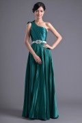 Simple Elastic Satin One Shoulder A Line Green Formal Bridesmaid Dress