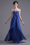 Simple A Line Empire Ruching Chiffon Floor length Formal Bridesmaid Dress