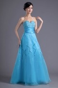 A line Sweetheart Strapless Sequins Beaded Epmire Waist Organza Floor length Formal Dress