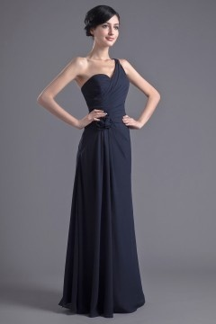 Elegant Chiffon One Shoulder Flower Formal Bridesmaid Dress