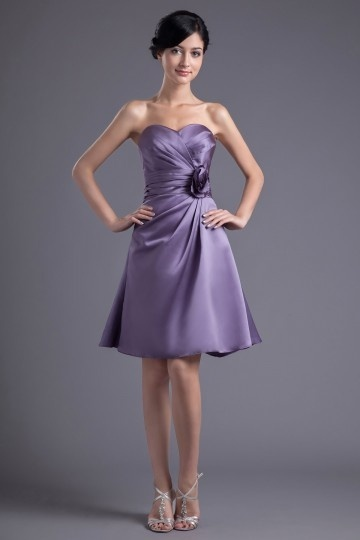 Dressesmall Cute Sweetheart Purple Satin Flower Short Formal Bridesmaid Dress