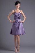 Simple A line Handmade Flower Runched Elastic Silk-like Satin Knee-length Bridesmaid Dress