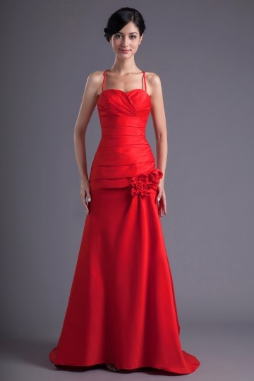 Dressesmall Long Red Spaghetti Strap A Line Flower Formal Bridesmaid Dress