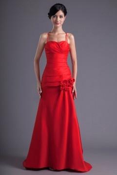 A Line Senza Spalline Speciale Pieghe Taffettà Rosso Vestito Da Damigella d'onore