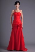 Long Red Spaghetti Strap A Line Flower Formal Bridesmaid Dress