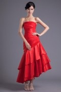 A line Strapless Pleated Flouncing Hip Wraped Fishtail Taffeta Ankle-length Prom Dress