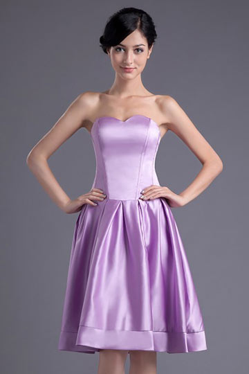 Simple Purple Strapless Knee Length A Line Bridesmaid Dress