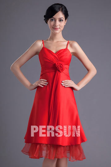 Spaghetti Straps Satin A Line Flower Knee Length Bridesmaid Dress