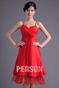 Red Satin V Neck Spaghetti Strap Short Formal Bridesmaid Dress