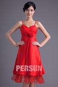 Vermelho Vestido de madrinha Império com alça fina decorado de flor feita à mão