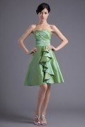 Green Strapless A Line Ruffles Short Formal Bridesmaid Dress