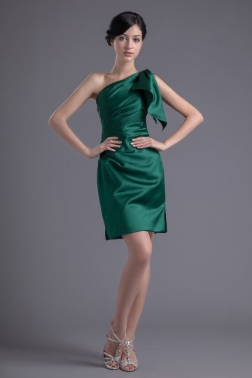 Dressesmall Chic Green One Shoulder Ruffles Knee Length Formal Bridesmaid Dress