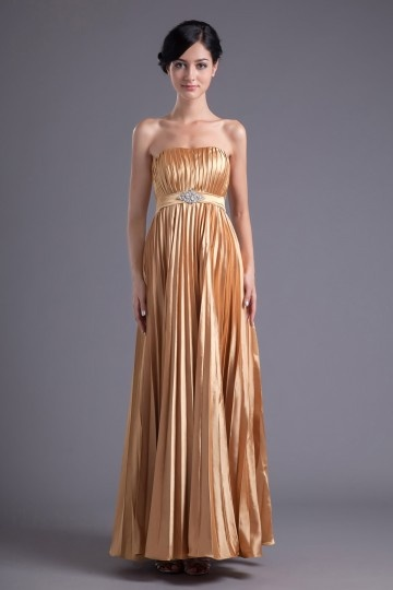 A line Strapless Empire Waist Beaded Pleated Waist Band Elastic Silk-like Satin Floor length Evening Dress
