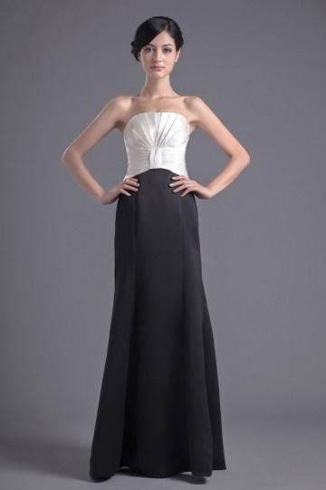 Dressesmall Elegant Clock Block Mermaid Strapless Satin Long Evening Dress